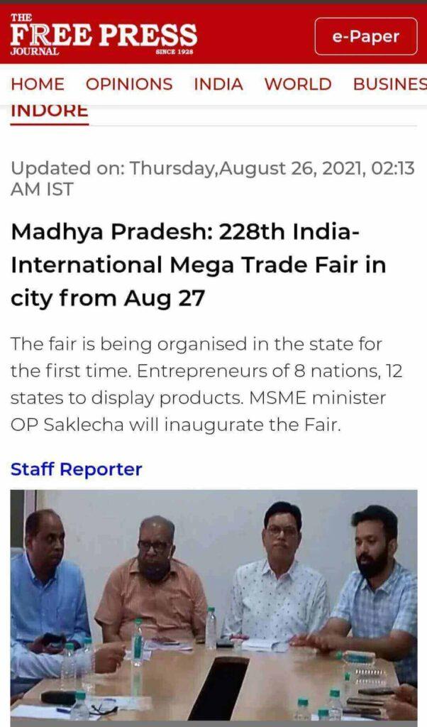 India International Mega Trade Fair Indore Free Press